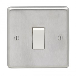 Eurolite Stainless Steel Satin Stainless 1 Gang Intermediate Switch with White Insert