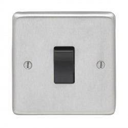 Eurolite Stainless Steel Satin Stainless 1 Gang 20amp DP Switch with Black Insert