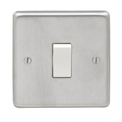 Eurolite Stainless Steel Satin Stainless 1 Gang 20amp DP Switch with White Insert