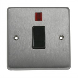 Eurolite Stainless Steel Satin Stainless 1 Gang 20amp DP Switch and Neon with Black Insert