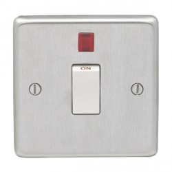 Eurolite Stainless Steel Satin Stainless 1 Gang 20amp DP Switch and Neon with White Insert