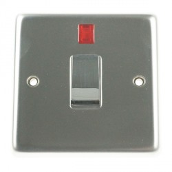 Eurolite Stainless Steel Satin Stainless 1 Gang 20amp DP Switch and Neon with Matching Insert