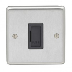 Eurolite Stainless Steel Satin Stainless 13amp Unswitched Fuse Spur with Black Insert