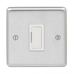 Eurolite Stainless Steel Satin Stainless 13amp Unswitched Fuse Spur with White Insert