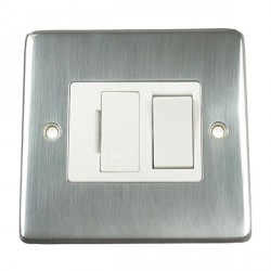 Eurolite Stainless Steel Satin Stainless 13amp Switched Fuse Spur with White Insert