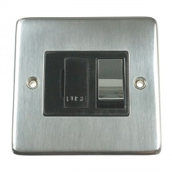 Eurolite Stainless Steel Satin Stainless 13amp Switched Fuse Spur with Matching Rocker and Black Insert