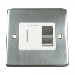 Eurolite Stainless Steel Satin Stainless 13amp Switched Fuse Spur with Matching Rocker and White Insert