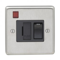 Eurolite Stainless Steel Satin Stainless 13amp Switched Fuse Spur and Neon with Black Insert