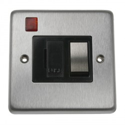 Eurolite Stainless Steel Satin Stainless 13amp Switched Fuse Spur and Neon with Matching Rocker and Black Insert