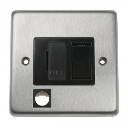 Eurolite Stainless Steel Satin Stainless 13amp Switched Fuse Spur Flex Outlet with Black Insert