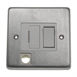 Eurolite Stainless Steel Satin Stainless 13amp Switched Fuse Spur Flex Outlet with White Insert