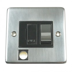 Eurolite Stainless Steel Satin Stainless 13amp Switched Fuse Spur Flex Outlet with Matching Rocker and Black Insert