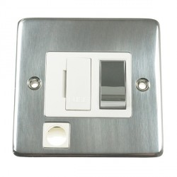 Eurolite Stainless Steel Satin Stainless 13amp Switched Fuse Spur Flex Outlet with Matching Rocker and White Insert