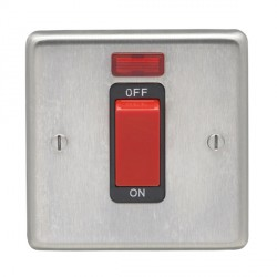 Eurolite Stainless Steel Satin Stainless 1 Gang 45amp DP Cooker Switch and Neon with Black Insert
