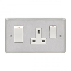 Eurolite Stainless Steel Satin Stainless 2 Gang 45amp DP Switch and Socket with White Insert