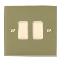 Hamilton Cheriton Victorian Satin Brass 2 Gang Multi way Touch Master Trailing Edge with White Insert