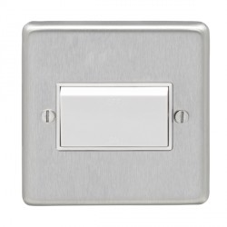 Eurolite Stainless Steel Satin Stainless 1 Gang Triple Pole Fan Isolator Switch with White Insert