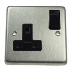 Eurolite Stainless Steel Satin Stainless 1 Gang 13amp DP Switched Socket with Black Insert