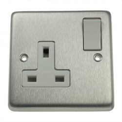 Eurolite Stainless Steel Satin Stainless 1 Gang 13amp DP Switched Socket with White Insert