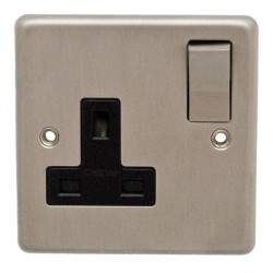 Eurolite Stainless Steel Satin Stainless 1 Gang 13amp DP Switched Socket with Matching Rocker and Black Insert