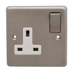 Eurolite Stainless Steel Satin Stainless 1 Gang 13amp DP Switched Socket with Matching Rocker and White Insert