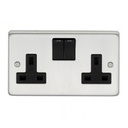 Eurolite Stainless Steel Satin Stainless 2 Gang 13amp DP Switched Socket with Black Insert