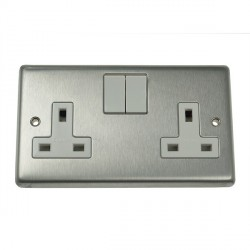 Eurolite Stainless Steel Satin Stainless 2 Gang 13amp DP Switched Socket with White Insert