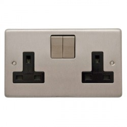 Eurolite Stainless Steel Satin Stainless 2 Gang 13amp DP Switched Socket with Matching Rocker and Black Insert