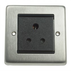 Eurolite Stainless Steel Satin Stainless 1 Gang 5amp Unswitched Socket with Black Insert