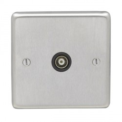 Eurolite Stainless Steel Satin Stainless 1 Gang TV Outlet with Black Insert