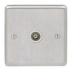 Eurolite Stainless Steel Satin Stainless 1 Gang TV Outlet with White Insert