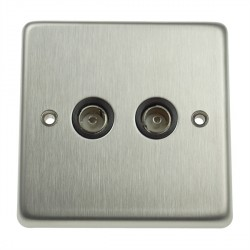 Eurolite Stainless Steel Satin Stainless 2 Gang TV Outlet with Black Insert