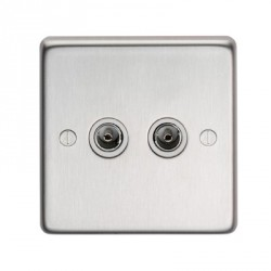 Eurolite Stainless Steel Satin Stainless 2 Gang TV Outlet with White Insert