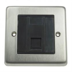 Eurolite Stainless Steel Satin Stainless 1 Gang Data Socket with Black Insert