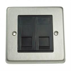 Eurolite Stainless Steel Satin Stainless 2 Gang Data Socket with Black Insert