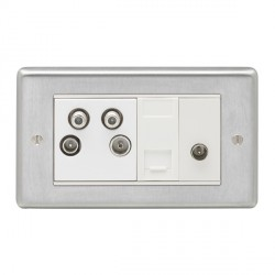 Eurolite Stainless Steel Satin Stainless 2 Gang Sky Plus with White Insert