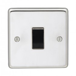 Eurolite Stainless Steel Polished Stainless 1 Gang 10amp 2way Switch with Black Insert