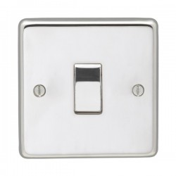 Eurolite Stainless Steel Polished Stainless 1 Gang 10amp 2way Switch with Matching Insert