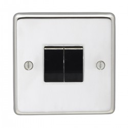 Eurolite Stainless Steel Polished Stainless 2 Gang 10amp 2way Switch with Black Insert