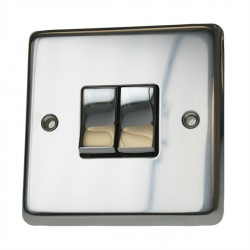 Eurolite Stainless Steel Polished Stainless 2 Gang 10amp 2way Switch with Matching Insert