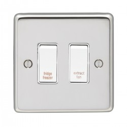 Eurolite Stainless Steel Polished Stainless 2 Gang 20amp DP Engraved Appliance Switch with White Insert