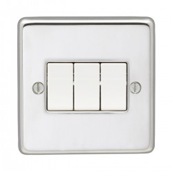 Eurolite Stainless Steel Polished Stainless 3 Gang 10amp 2way Switch with White Insert