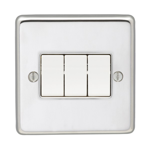 Eurolite Stainless Steel Polished Stainless 3 Gang 10amp 2way Switch ...