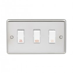 Eurolite Stainless Steel Polished Stainless 3 Gang 20amp DP Engraved Appliance Switch with White Insert