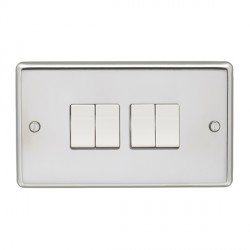 Eurolite Stainless Steel Polished Stainless 4 Gang 10amp 2way Switch with White Insert