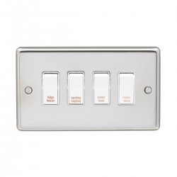 Eurolite Stainless Steel Polished Stainless 4 Gang 20amp DP Engraved Appliance Switch with White Insert