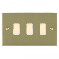 Hamilton Cheriton Victorian Satin Brass 3 Gang Multi way Touch Slave Trailing Edge with White Insert