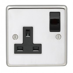 Eurolite Stainless Steel Polished Stainless 1 Gang 13amp DP Switched Socket with Black Insert