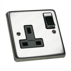 Eurolite Stainless Steel Polished Stainless 1 Gang 13amp DP Switched Socket with Matching Rocker and Black Insert