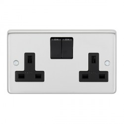 Eurolite Stainless Steel Polished Stainless 2 Gang 13amp DP Switched Socket with Black Insert